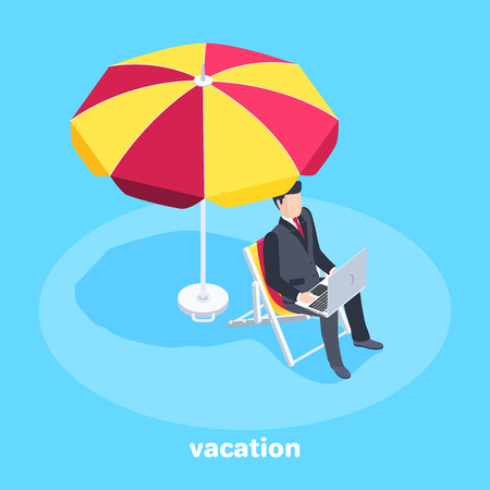 isometric vector image on a blue background, a man in a business suit working behind a laptop sitting on a deck chair under an umbrella, working vacation or trip Çizim