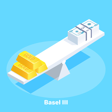 isometric vector image on a blue background, on white scales are gold bars and in contrast to banknotes, the dominance of gold in the world, a business concept Çizim