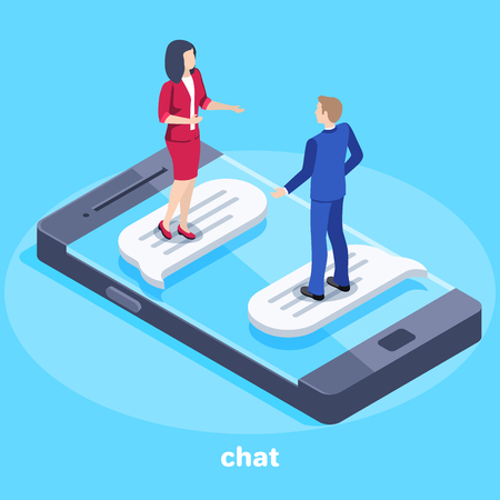 Isometric vector image on a blue background, on the smartphone are a man and a woman in business suits and chatting, conversation and correspondence in chat