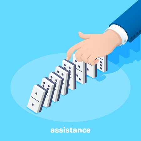 isometric vector image on a blue background, a man in a business suit holds a domino chips lined up in a row with his finger, support and revenue in work