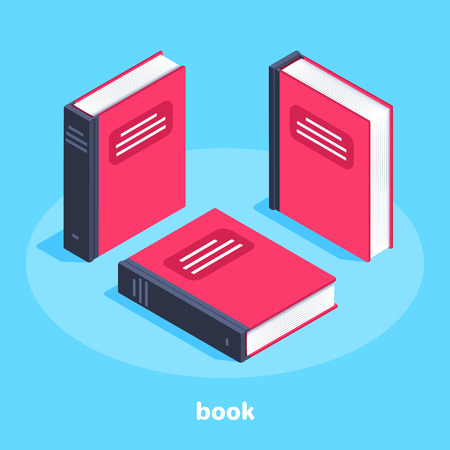 isometric vector image on a blue background, a red book in different angles, reading and learning