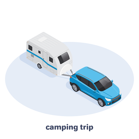 isometric vector image on a white background, car with a camper van, transport for travel Çizim