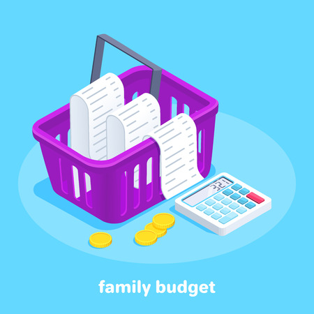 isometric vector image on a blue background, food basket with check and calculator, family budget