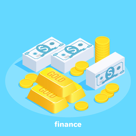 isometric vector image on a blue background, a set of money banknotes, gold and coins, business and finance Ilustração
