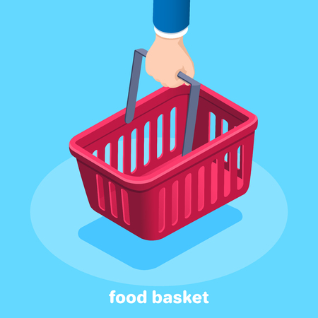 Isometric vector image on a blue background, hand is holding a food basket.
