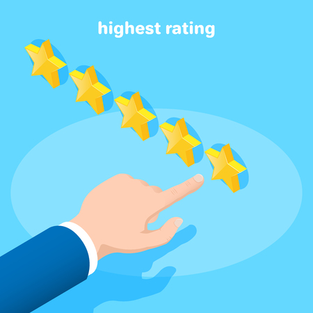 isometric vector image on a blue background, a hand pointing to five stars, rating something Stockfoto - 123384114