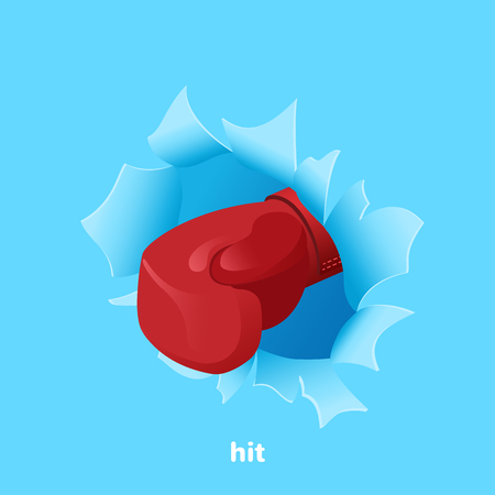 isometric vector image on a blue background, a red boxing glove punches a piece of paper Çizim