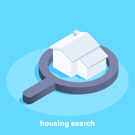 Isometric vector image on a blue background, house in the magnifier, search and sale of housing