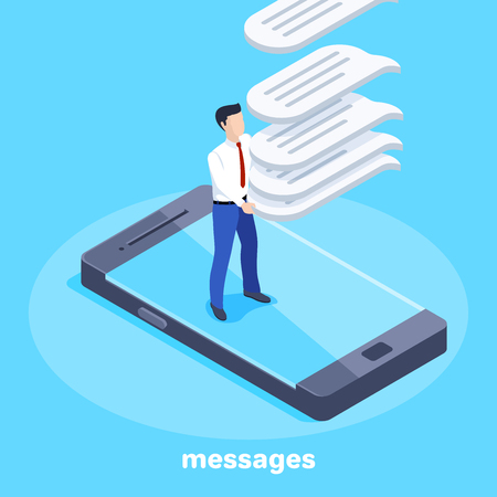 isometric vector image on a blue background, a man in a business suit catches falling messages while standing on a smartphone