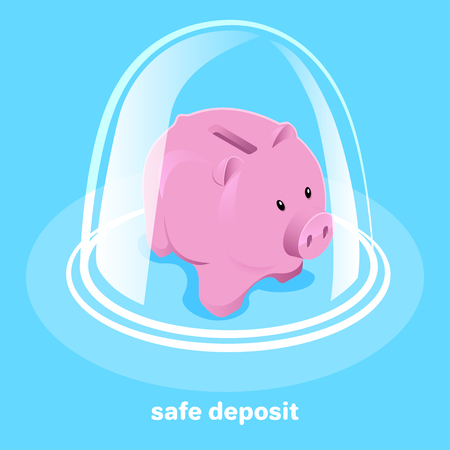 isometric vector image on a blue background, a piggy bank under a glass dome, protection and reliability Çizim