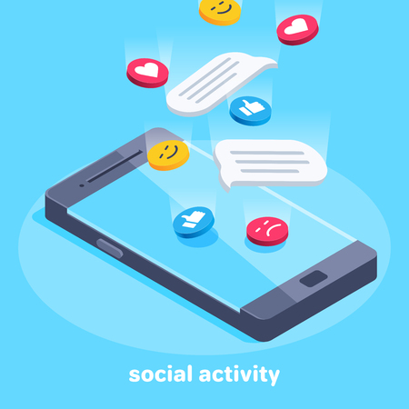 isometric vector image on a blue background, smiles and likes falling on the screen of a smartphone, social marketing Çizim