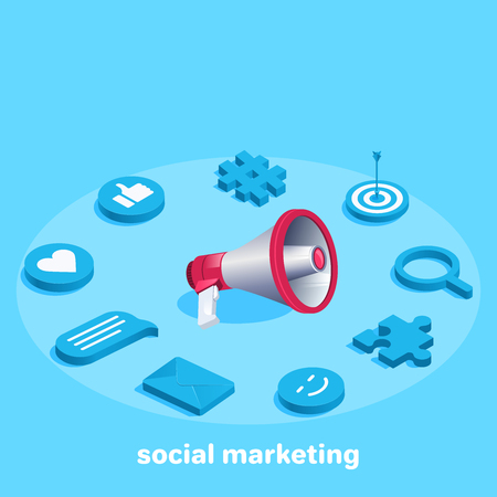 Isometric vector image on a blue background, loudspeaker and icons for social marketing.