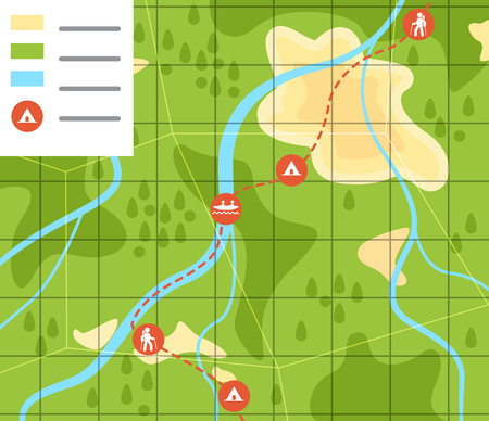 flat vector image on green background, travel map with highlighted itinerary and camping places.