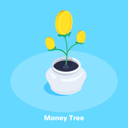 isometric vector image on a blue background, a pot with a growing money tree, financial growth