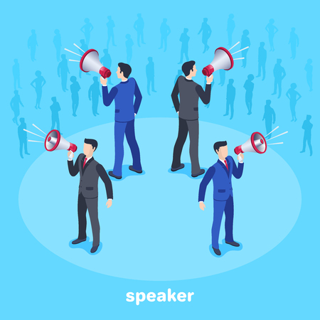 Isometric vector image on a blue background, men in business suits are standing with loudspeakers in the center of a circle and silhouettes of people in the background.