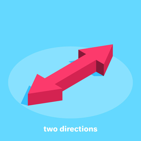 isometric image on a blue background, red arrows pointing in different directions, changing directions or exchanging