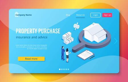 Isometric vector image on a blue background, a man and a woman in business suits are looking at a house with a magnifying glass next to banknotes, buying property and insurance landing
