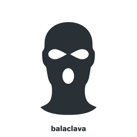 flat vector image on white background, black balaclava icon, man hiding his face