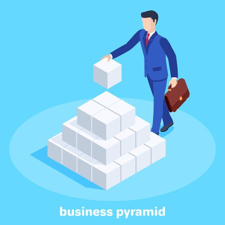 isometric vector image on a blue background, a man in a business suit with a briefcase in his hand puts the cubes in a pyramid, financial pyramid Illustration