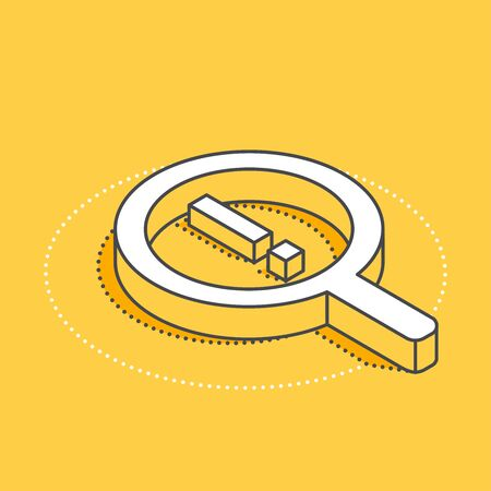 isometric vector icon on a yellow background, big magnifier and  exclamation mark, data search
