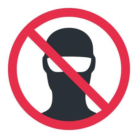flat vector image on white background, black balaclava icon, prohibition man hiding his face