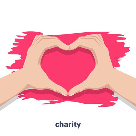 flat vector icon on white background, human hands folded in heart, care for the needy and donations for charity