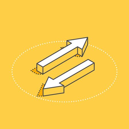 isometric vector icon on a yellow background, arrows pointing in different directions, changing directions or exchanging