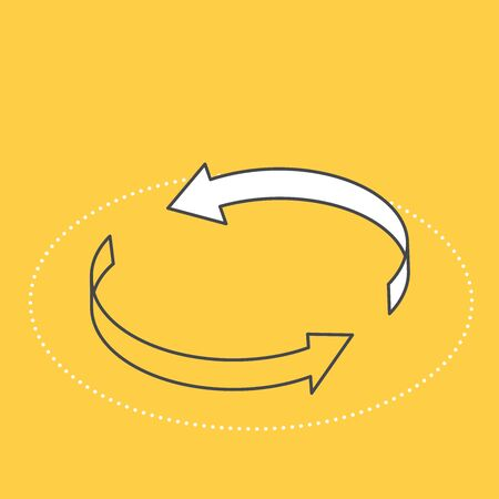 isometric vector image on a yellow background, two arrows curved in a circle, exchange icon, business and finance