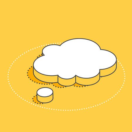 isometric vector image on a yellow background, white spoken bubble icon