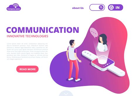 isometric vector image in the form of a landing on a white background, innovative communication technology, a man speaks through a smart watch with a woman, remote communication Stock Illustratie