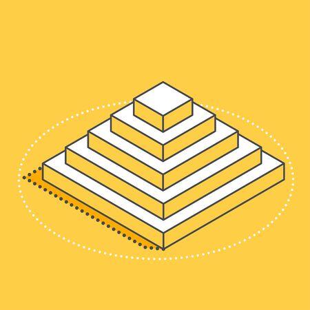 isometric vector image on a yellow background, step pyramid icon, business success Illusztráció