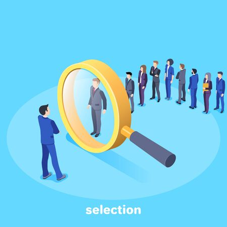 isometric vector image on a blue background, a man in a business suit stands in front of a large magnifier and selects candidates for work, search for qualified personnel