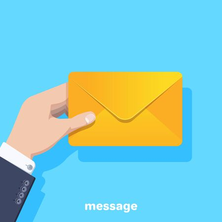 flat vector image on a blue background, the hand of a man in a business suit holds a yellow envelope with a letter, receiving or sending an email