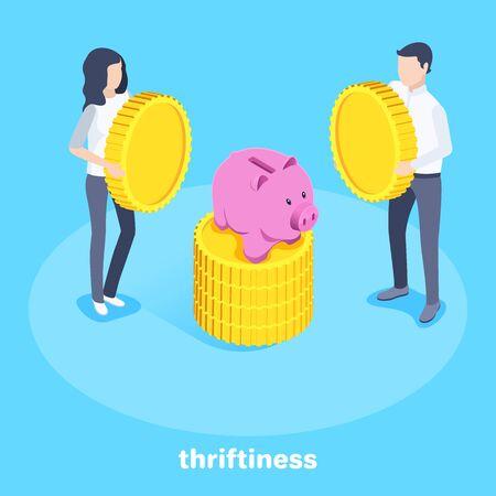 isometrisches Vektorbild auf blauem Hintergrund, ein Mann und eine Frau, die Münzen neben einem Sparschwein halten, Einzahlung in einer Bank
