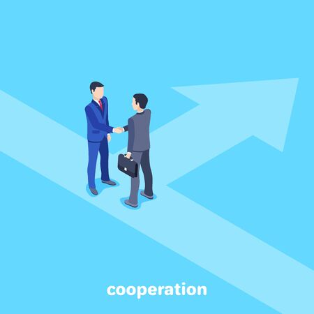 isometric vector image on a blue background, men in business suits shake hands, a business agreement and a contract Illustration
