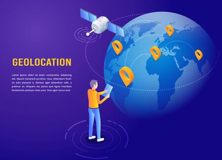 isometric vector image on a dark background, a landing page on the theme of geolocation, a man with a smartphone is standing near the globe around which a satellite is flying