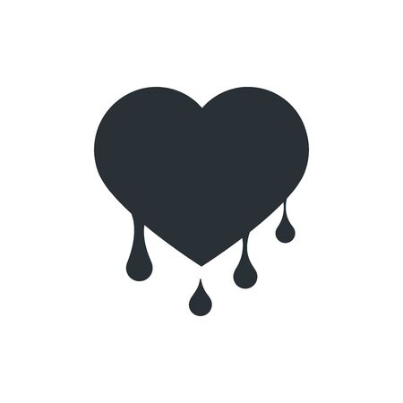 flat vector image on white background, heart icon with drops Stock Illustratie