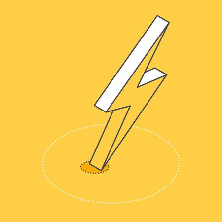 isometric vector image on a yellow background, lightning icon  イラスト・ベクター素材