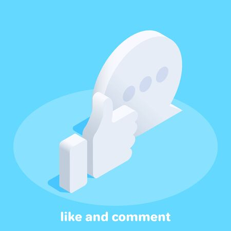 isometric vector image on a blue background, like and comment icon