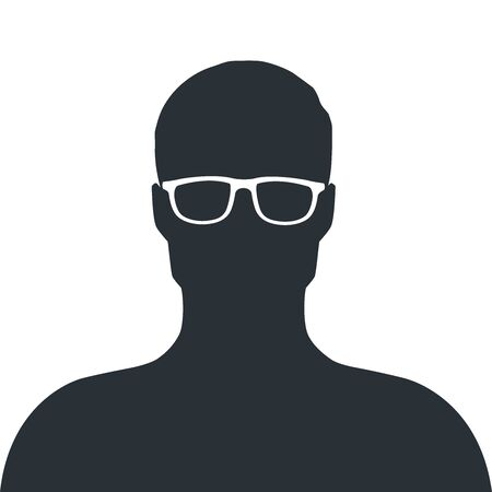 flat vector image on a white background, icon in the form of a silhouette of a man with glasses