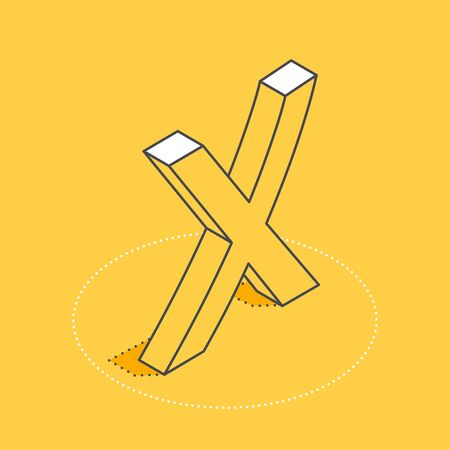 isometric vector image on a yellow background, cross icon, letter X mark