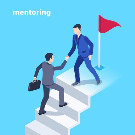 isometric vector image on a blue background, a man in a business suit helps another person reach the goal in the form of a flag at the top of the steps, mentoring in business