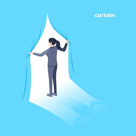 Isometric vector image on a blue background. A woman in a business suit opens the curtain. Behind is a bright white light. Çizim
