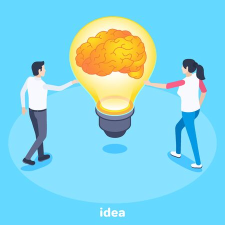 isometric vector image on a blue background, the brain inside the light bulb, man and woman next to ight bulb, the generator of ideas