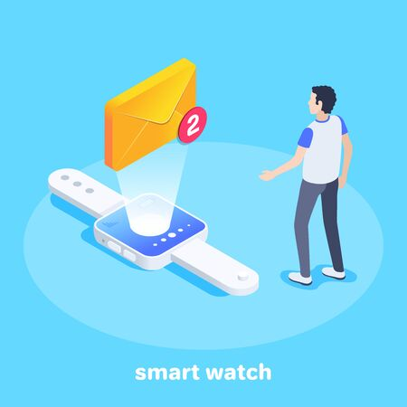 isometric vector image on a blue background, a man stands near a smart watch on the screen of which an envelope, email in a smartphone