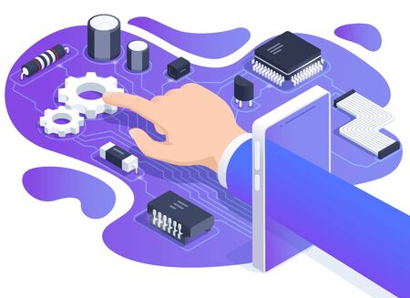 isometric vector image on a white background, the hand of a man in a business suit passes through the screen of a smartphone, gears and radio components on the board, repair and tuning of electronics