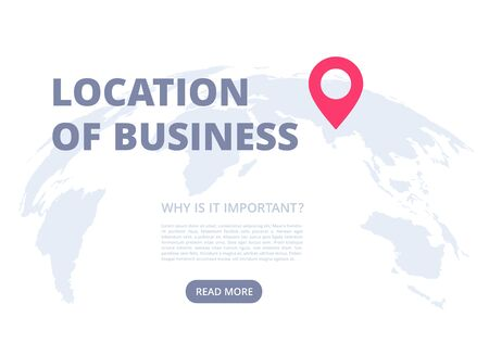 flat vector image on a white background, world map and location icon, business landing page