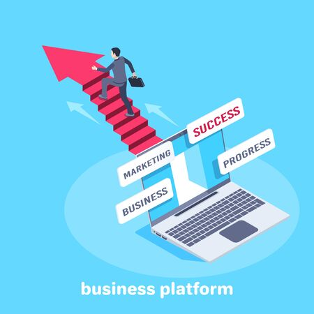 isometric vector image on a blue background, a laptop with inscriptions on the screen, a man in a business suit climbs the stairs to success, work progress, business platform