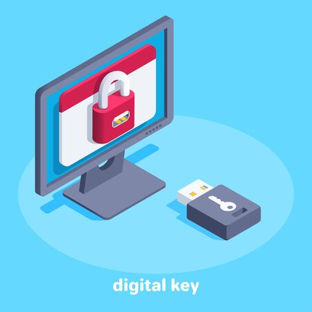 isometric vector image on a blue background, a monitor with a lock on the screen and a flash drive key, digital information protection Illusztráció