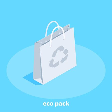 isometric vector image on a blue background, paper eco bag with handles, care for nature. Illustration